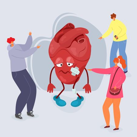 Bullying vector illustration, people tease cartoon unhappy heart with wounds. Group of bully teenagers guys and girl aggressors point fingers and laugh at unhappy heart. Stop bullying concept.