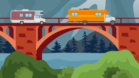 Bridge over river or lake with autos of travelers vector illustration. Car trip, motorhomes crossing bridge vector illustration. Natural landscape with hills, trees, water.