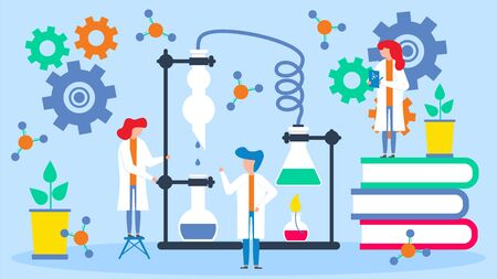Scientists analyze data vector illustration. Group of scientists people works in team with professor in scientific astronomical, physical, chemical laboratory. Telescope and atom, molecule, dna. Ilustração