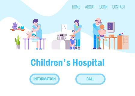 Doctors for children in hospital or medical clinic vector illustration set website. Different doctors baby masseur, ophthalmologist, osteopath working in kids hospital. Internet page banner. Ilustrace