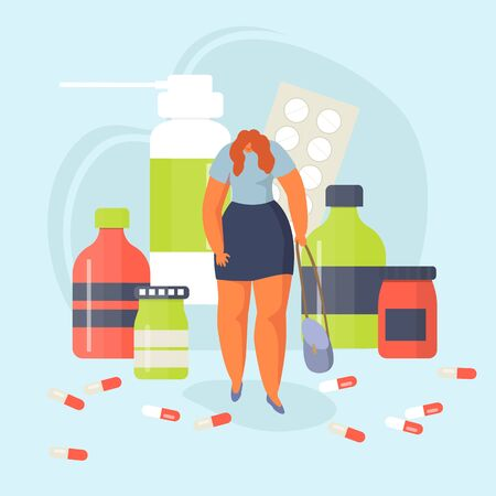 Woman with clinical depression among medications drugs pills vector illustration. Depressed girl with mental illness stands near antidepressants for apathy, melancholy, fatigue treatment.