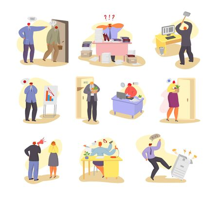 Problems at work vector illustration. Different people have troubles in job places. Dismissal, strength and energy lack, over hours, breakdown of office equipment. Hand drawn collection set isolated.