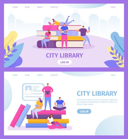 City library with books and tiny people reading and study texbooks web templates set cartoon vector illustration for education online. Book sta k with tiny people in library webpage, landing.
