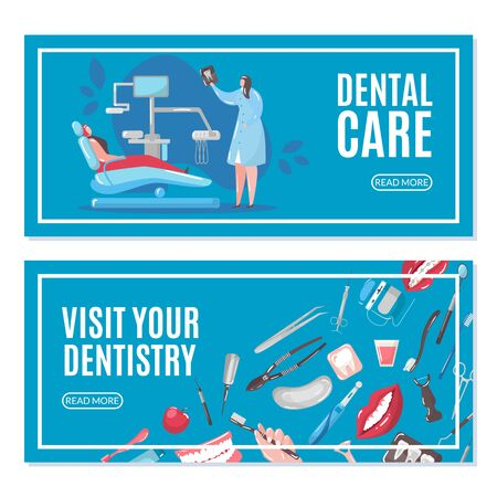 Dental care and dentistry banners set with doctor and patient in chair doing tooth x-ray vector illustration. Dental health care, healthy clean teeth, stomatology tools and equipment icons.
