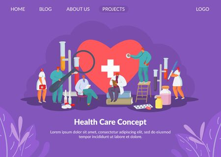 Health care for heart with doctors, medication research and medicine concept solution, tiny people character vector illustration. Flasks and medical books for healthcare and healthy heart therapy.