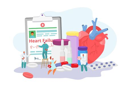 Heart failure desease with doctors, cardiogram, medication and medicine concept solution, tiny people character vector illustration. Cardilogy and unhealthy heart attack and illness therapy.
