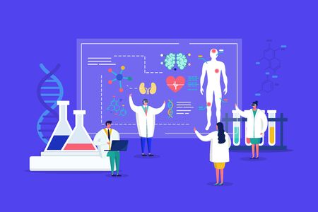 Innovative lab tiny people medics in 3d glasses conduct research, analyze human organs on sqreen medical discovery for health care vector illustration. Innovation in medicine, innovatory laboratory.