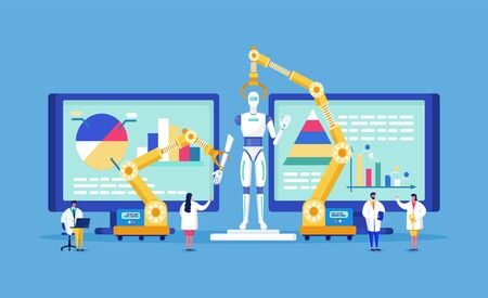 Technologie de laboratoire innovante de minuscules scientifiques mènent des recherches, modèlent une illustration vectorielle de robot bio. Innovation en biotechnologie, laboratoire médical innovant pour la recherche scientifique.