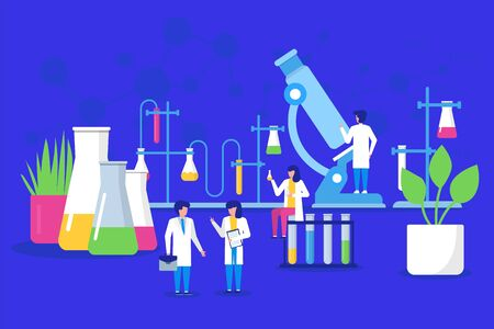 Laboratory research and science chemistry technology, mini people scientists working in laboratory with chemical flasks vector illustration. Medical tests and experiment lab research.