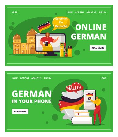 Learning german language online with teacher, education in your telephone vector illustration. Webinar on learning Germany and germanic languages. German dictinary and flag webpage templates set.