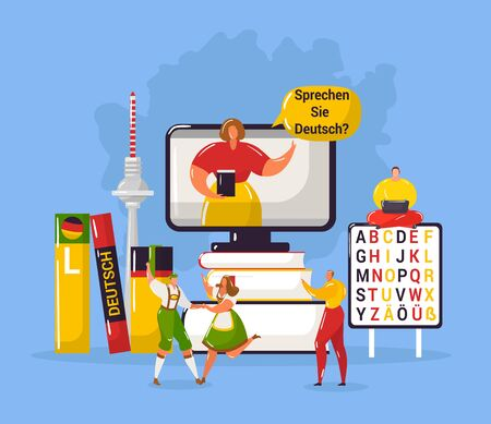Learning german language in Germany education webpage template vector illustration. German flag with dictionaries and tiny people in national cloths, teacher. Time to learn german banner.