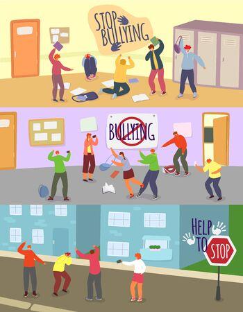 School children bullying vector illustrations. Cartoon angry boy girl teenager mocking unhappy schoolmate, sitting on floor. Teen taking mockery photos on smartphone. Victim stress, stop bully problem