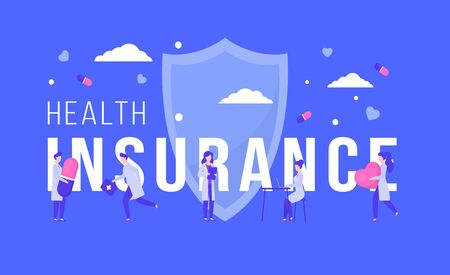 Health insurance vector illustration. Medical family healthcare support concept, flat cartoon tiny female doctor takes care patient in hospital. Medicine insurance services, health protection people web banner