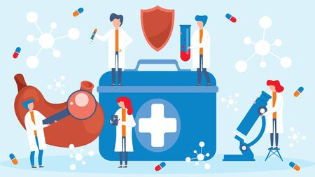 Drugs research in science laboratory, people group teamwork vector illustration. Men and women test drugs medications to treat stomach diseases. Microscope, magnifying glass, first aid kit.