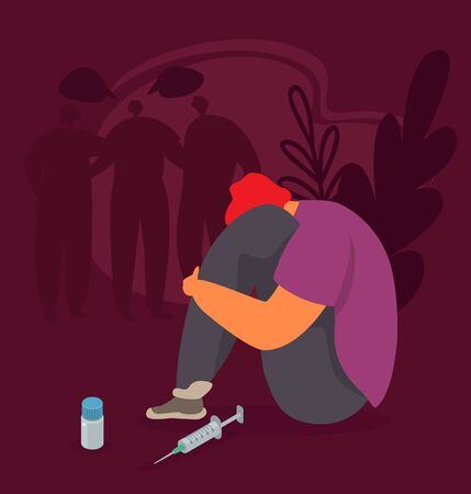 Drug addiction vector illustration. Abused addicted young man or teen sit with head in knees near drugs and syringe for narcotic injection. Silhouettes of talking people in darkness.