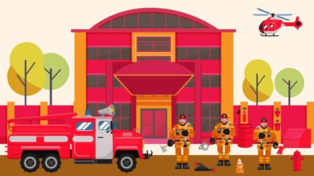 Fire station vector illustration. Firefighters cartoon men team near fire truck engine in front of rescue service building. Flying helicopter. Emergency safety equipment.