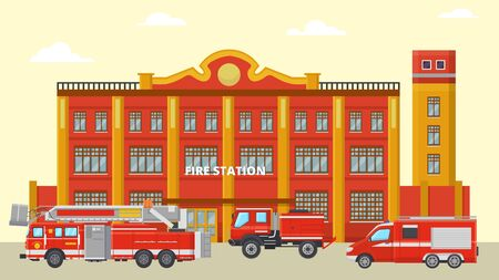 Fire station building and fire trucks vector illustration. Various red fire engines with equipment for transportation in front of modern emergency rescue city service house. Nobody. Illustration