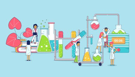 Lab research lineart and science chemistry technology, omen and men scientists working in lab with chemical experiment vector illustration.Tests and experiment research for medicine.