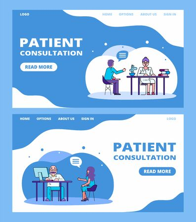 Patient at medical consultation by doctor line medicine banners set, vector illustration. Woman at clinic talking with doctor about her health complaints, man patient consults female doctor in hospital. Stock Illustratie