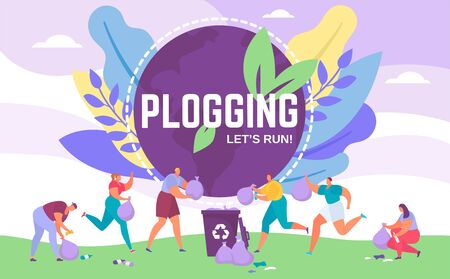 Plogging banner lets run to clear the world, vector illustration of people picking up litter during plogging eco marathon. Recycle while jogging eco activists movement for ecology protection. Vectores