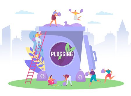 Plogging ecological concept run to clear the world, vector illustration of tiny people picking up litter into huge garbage container, plogging eco marathon. Plog eco movement for ecology pretection. Vectores