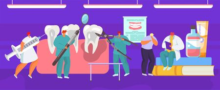 Tooth extraction dental medical prosedure by dentist surgeon, mouth anatomy cartoon vector illustration. Tooth removal procedure, dental surgery and tiny people in dentistry concept. Ilustração