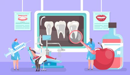 Treatment of caries concept, x-ray tooth and medical cure by dentist and patinet in dental chair mini people cartoon vector illustration. Caries and hygiene, dentistry medicine, stomatological clinic. Ilustracja