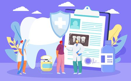 Treatment of caries, healthy tooth dental medical prosedure by dentist cartoon vector illustration. Dental care for caries and hygiene, tiny people, dentistry medicine, stomatological clinic concept.