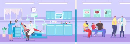 Dentist office interior with doctor and patient in dental chair treating tooth and queue sick people waiting for medicine treatment vector illustration. Stomatological office inside. Ilustracja