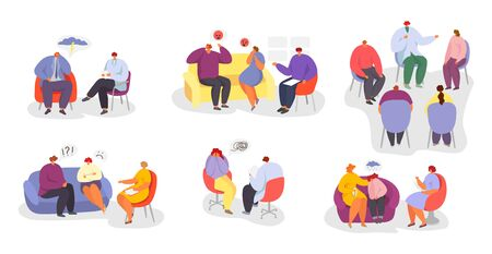 Psychotherapy, people at psychologist doctor consultation vector illustration isolated set collection. Individual, group psychotherapeutic sessions. Men, women, child, couples and families patients.