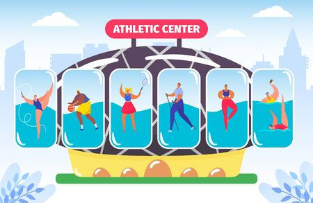 Fitness and athletic center, gym for different kinds of sport, athlete bodybuilding vector illustration. Workout center, professional trainers service. Athletic training for sportive people.