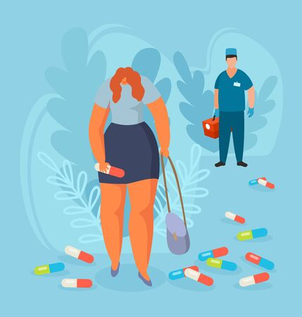 Depressed woman with huge pill in hand among drugs after visiting doctor vector illustration. Improper treatment, pharmaceutical medication does not help girl with mental disease.