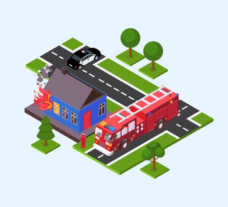 Fire in house, fire truck engine and police car near burning building vector illustration isometric. Firefighting rescue emergency protection service equipment for flaming home. Nobody.