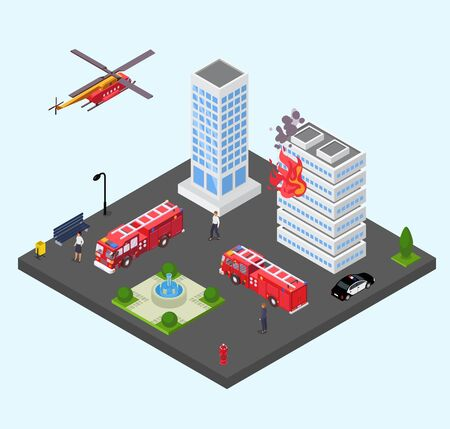 Building in fire vector illustration isometric. Emergency firefighting rescue service fire engine trucks with ladders and police car, helicopter. Apartment house burning.