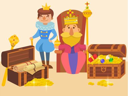 King sitting on throne and his son in crowns, with wealth riches vector illustration. Father king holds scepter and globus cruciger, prince smiles. Scrolls, chests with gold coins.