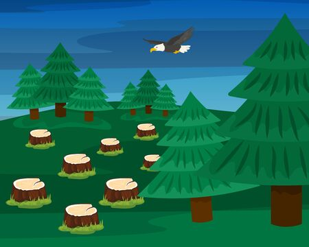 Felled trees in logging forest vector illustration hand drawn. Stumps and growing spruces. Deforestation, damage to nature, illegal destruction of coniferous wood. Flying eagle.
