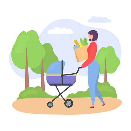 Casual woman, mother walking with her baby in stroller, woman pushing pram with newborn child and bags of food isolated on white vector illustration. Modern motherhood, casual woman concept. Illusztráció