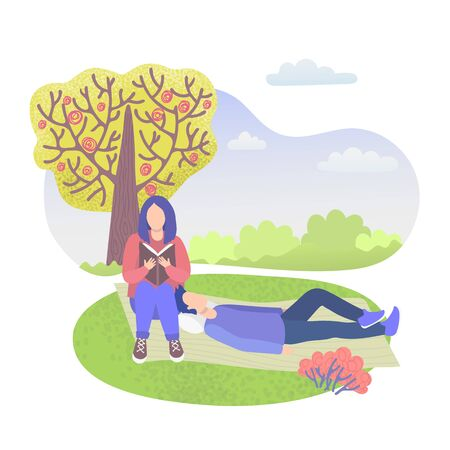 City park character couple, girl sitting and reading book and boy relaxing on grass isolated on white flat vector illustration. People rest outdoors in summer urban park over cityscape. Illustration