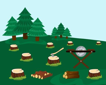 Logging forest with felled trees vector illustration hand drawn. Stumps after spruces cutting. Ax, saw machine, firewood, logs. Deforestation, coniferous wood destruction.