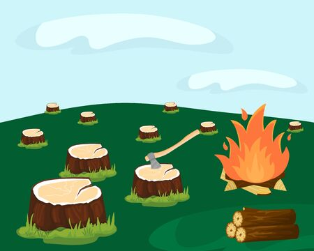Deforestation for logging vector illustration. Cutting down forest industry. Stumps left after felling trees. Ax, logs, firewood, burning fire. Nobody. Damage to wildlife, environment.