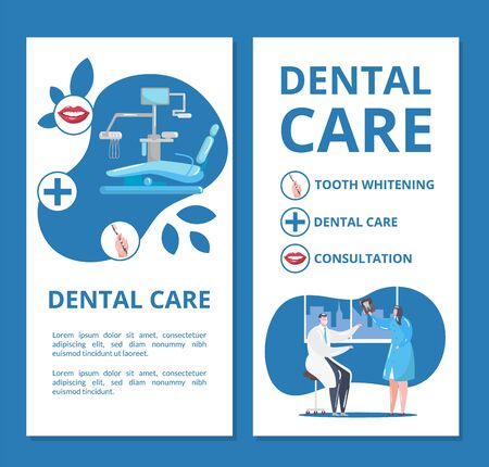 Dental care and dentistry banners set with doctors in stomatological clinic doing tooth x-ray and dentistry equipment vector illustration. Dental health care, tooth whitening and stomatology.