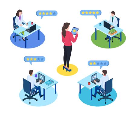 Doctor choice by rating isometric vector illustration isolated with woman looking for best medical doctor online. Stars doctors ratings on healthcare website, mobile app. Digital medicine concept.