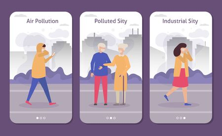People in polluted industrial city with smog, coughing, respirator masks set of banners, flat vector illustration. Air pollution in city streets. Carbon dioxide emissions polutes air concept. Illustration