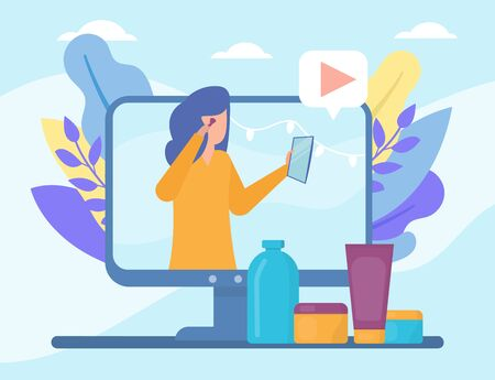 Video beauty blog in internet online vector illustration live video streaming, social media technologies. Girl training course in beauty and cosmetics, blogging people and multimedia, televison.