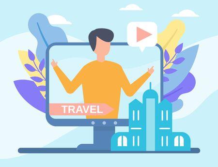 Video travelling blog in internet online vector illustration live video streaming, social media technologies. Travel blogging people and multimedia, televison.