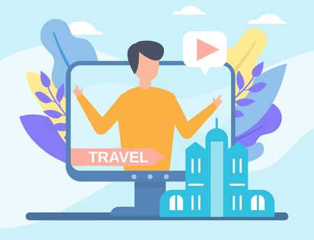 Video travelling blog in internet online vector illustration live video streaming, social media technologies. Travel blogging people and multimedia, televison.