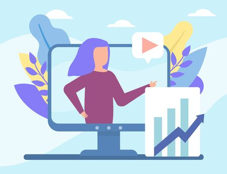 Business video streamming, vblog online vector illustration of girl trainig business course in social media technologies. People and multimedia, video tutorials and televison.