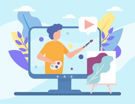 Video drawing vblog in internet online vector illustration live video streaming, social media technologies. Man teaches art and draw in blog, people and multimedia, televison. Vectores