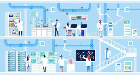 Science research in laboratory vector illustration. Cartoon flat people scientists make lab experiment, character works on computer, analysis scientific equipment. Medical chemical pharmacy technology Vettoriali