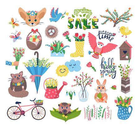 Niedliche Frühlings-Set-Vektor-Illustration. Flache blühende Blumen der Karikatur, glückliche Tier- oder Vogelcharaktere im Vogelhaus, Blumendekorationen, Schmetterling. Frühling Ostern Niedlichkeit Set Icons isoliert auf weiss Vektorgrafik